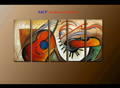 Large MODERN ABSTRACT OIL PAINTING Canvas musical Art Wall Decor Framed FQ4041
