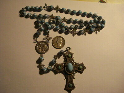 ANTIQUE AWESOME ROSARY TURQUOISE & STERLING SILVER MUSEUM PIECE 19 Century
