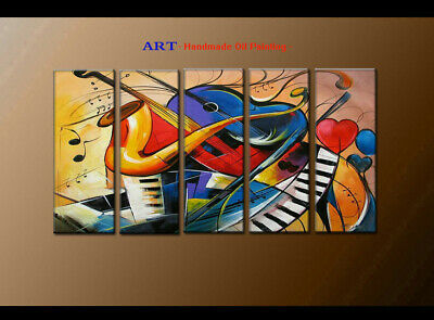 Large MODERN ABSTRACT OIL PAINTING Canvas musical Art Wall Decor Framed FQ4042
