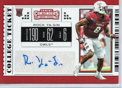 Rock Ya-Sin, Indianapolis Colts, 2019 Contenders Draft ROOKIE auto