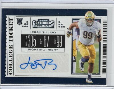 Jerry Tillery, Notre Dame, 2019 Contenders Draft ROOKIE auto