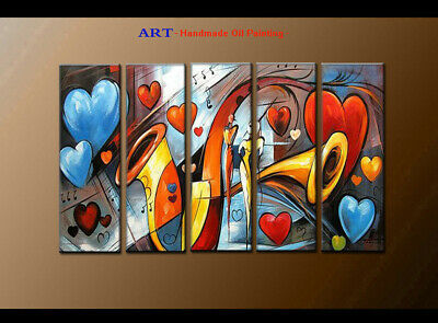 Large MODERN ABSTRACT OIL PAINTING Canvas musical Art Wall Decor Framed FQ4087