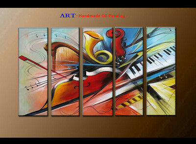 Large MODERN ABSTRACT OIL PAINTING Canvas musical Art Wall Decor Framed FQ4088