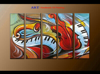 Large MODERN ABSTRACT OIL PAINTING Canvas musical Art Wall Decor Framed FQ4089