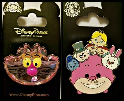 Disney Parks 2 Pin Lot CHESHIRE CAT 3D crystal face + TSUMS Alice friends