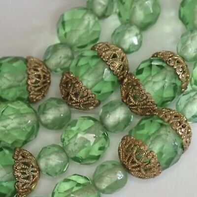 Antique Art Deco Brass Filigree Faceted Emerald Green Czech Glass Bead Necklace