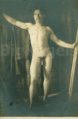 Early 1900s VINTAGE Uncut Male Nude HANDSOME Lean MUSCLE Academic Art Beefcake