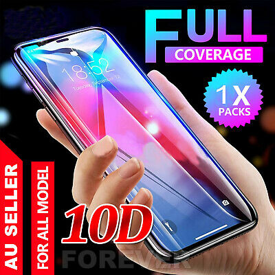 For iPhone XS Max XR X 10D Tempered Glass Screen Protector Real Full Coverage Dr
