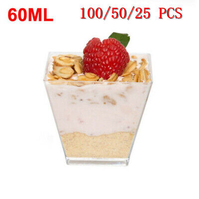 Mini 2oz Square Dessert Cups Cube Plastic Clear Mousse Cup Birthday Party Decor