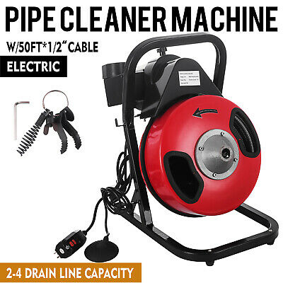 Electric Drain Auger Drain Cleaner Machine 50ft x 1/2'' Cleaning Snake Sewer