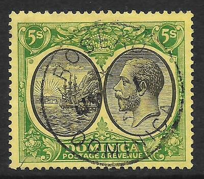 Dominica 1927 5/- Black & Green/Yellow SG 88 (Fine Used)