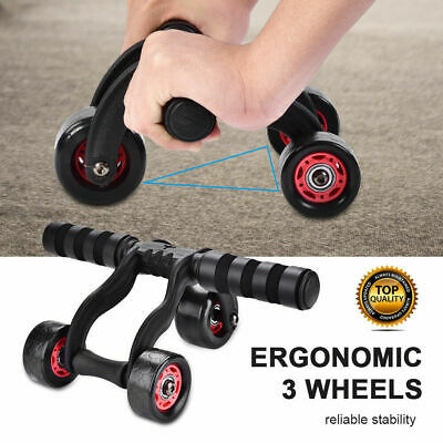 Abdominal Abs Gym Exerciser H1Y3 3-Wheel Fitness Ab Roller Workout System