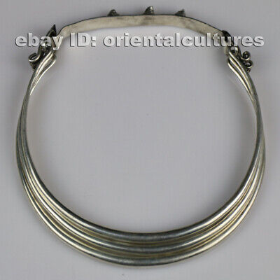 Tribal exotic chinese hand-carved miao silver 3rings necklace