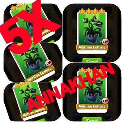 5 x Martian Lettuce :- Coin Master Cards ( Fastest Delivery )