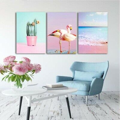 Modern Flamingo Art Canvas Oil Painting Print Wall Hanging Poster Decor Unframed
