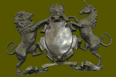 Royal Family Crest Coat of Arms Lion Unicorn Crown Shield Bronze Wall Plaque Art