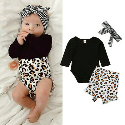 Summer Kids Baby Girl Infant Clothes Romper Tops Leopard Print Pants Outfits