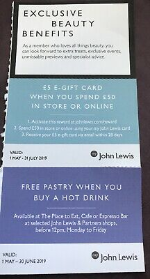 John Lewis Vouchers Coupons £5 Gift Card Free Pastry Best Price Freepost