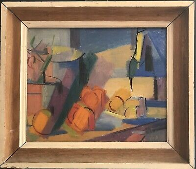 Superb 1950'S French Abstract Still Life Oil Painting - Beautiful Bright Colours