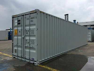 40 Fuß High Cube Seecontainer, Lagercontainer, Grau