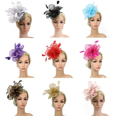 PT_ Cn _ Cocktail Festa The Copricapo Fascinators Cappello Piuma Maglia Florea