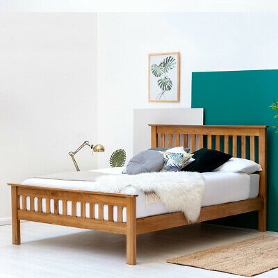 Solid Oak Wooden Bed Frame Farmhouse Shaker Style Double & King Size