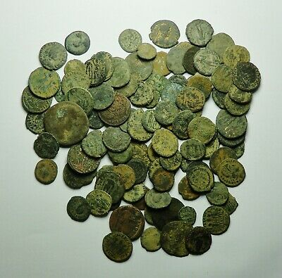 100 Small As Found Low Grade Roman Bronze Coins (722K)