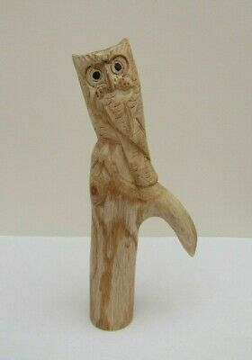 WOODEN CARVED  OWL SCRUMPING STICK Handle   for Walking stickmaking