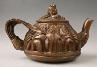 Rare Chinese Bronze Unique Handmade Teapot Home Decoration Old Collection
