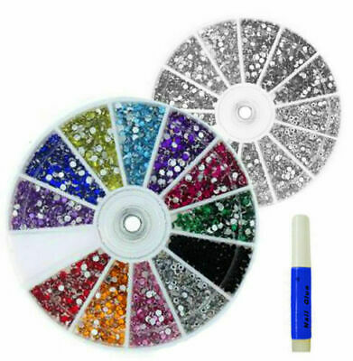 6000 pcs NAIL ART DECORATION RHINESTONES 12 COLOURS ROUND GEMS 2MM FREE GLUE