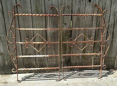 Pair Antique Cast Iron Scroll Fence Gate Old Architectural Salvage