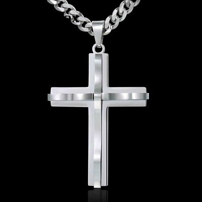 Mens Cross Charm Pendant Necklace Curb Cuban Stainless Steel Chain 5mm 20-30''