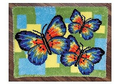BUTTERFLY GLORY LATCH HOOK RUG KIT from UK Seller, BRAND NEW