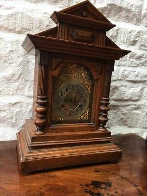 Good Old Oak Cased Junghan's 8 Day Quarter TingTang Chiming Mantle Bracket Clock
