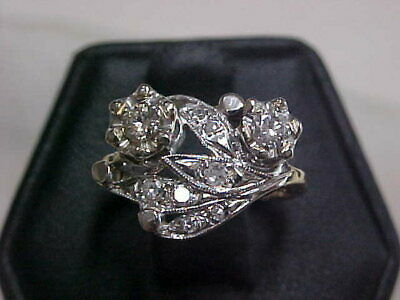 *ANTIQUE*ART-DECO*1920'S RARE NATURAL DIAMOND RING 14K WHITE GOLD sz6 *BUY NOW*