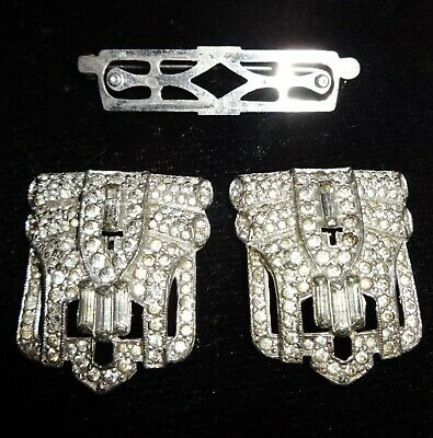 Art Deco Pair Double Dress Clip Duo Style Brooch Pin Vintage 1930