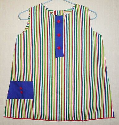 VINTAGE 1970's UNWORN GIRLS WHITE & BLUE STRIPED DRESS AGES 12 months to 3 years