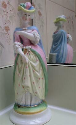 "Beautiful Bisque Porcelain Victorian Lady Wearing Feather Hat 9"" Figurine"