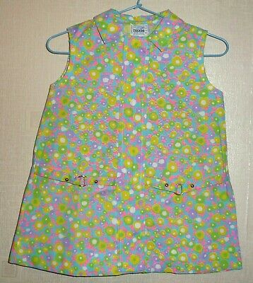 VINTAGE 70's UNWORN GIRLS FLORAL BELT DRESS TURQUOISE AGES 12 months to 6 years