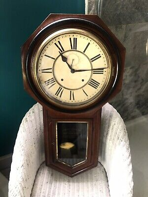 Antique  wooden Cased Wall Clock with Glass Panelled Door (Pendulum Chiming)