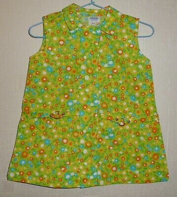 VINTAGE 70's UNWORN GIRLS FLORAL BELT DRESS LIME GREEN AGES 12 months to 6 years