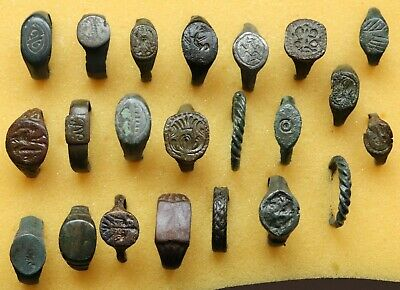 Job Lot Of 22 Authentic Medieval Bronze Rings ( Lot 2 )