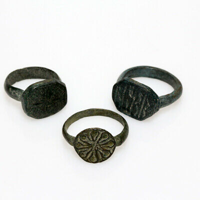 Lot Of 3 Late Byzantine Bronze Decorated Rings - All Intact Ca 700-1400 Ad