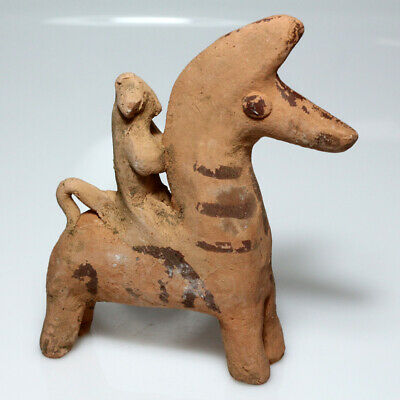 Parthian Terracotta Painted Horse With Rider Circa 100 Bc-Ad