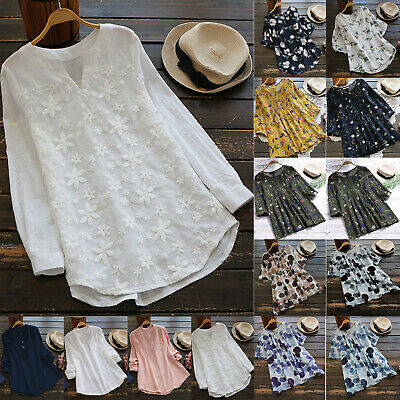 56af1f57dd5 Vintage Women Ladies Cotton Linen Tops Blouse Casual Summer Baggy Tunic T- Shirts
