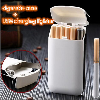 Cigarette Case And Lighters Rechargeable No gas USB Windproof Flameless Cigar