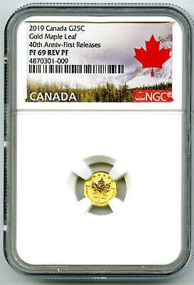 2019 Canada G25C Gold 40Th Annv Maple Leaf Ngc Pf69 Reverse Proof First Releases