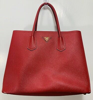 f4af9553f727 100% AUTHENTIC PRADA Large Saffiano Cuir Double Bag Red Tote Purse ...