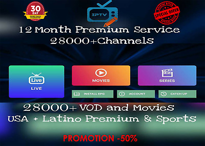 Strong Premium IPTV 12 Month Subscription +28000 CH & VOD Worldwide +Free Trial