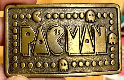 Vintage Pac-Man Belt Buckle Video Game Gold Brass Arcade Retro 80's Collectible